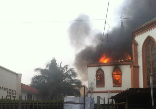 La cathédrale de Lomé , dévoré par le feu