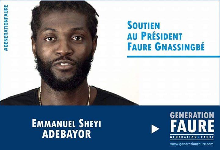 adebayor soutient Faure