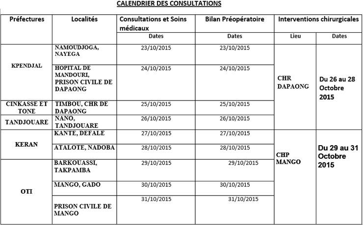 calendrier AIMES Afrique