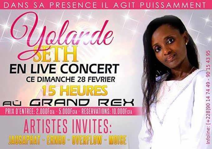 L'artiste Yolande Seth en concert Live au Grand Rex de Lomé