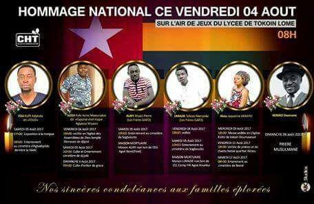 Vibrante cérémonie d'adieu aux humoristes togolais fauchés dans un accident